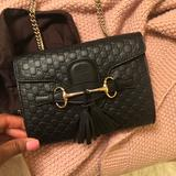 Gucci Bags | **Limited Edition: Black Leather Gucci Crossbody** | Color: Black | Size: 7.75x5.85x3