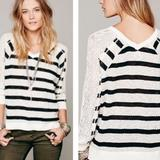 Free People Tops | Free People Knit Sweater | Color: Black/Cream | Size: Xs