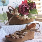 American Eagle Outfitters Shoes | American Eagle Outfitters Wedges | Color: Gold/Tan | Size: 8