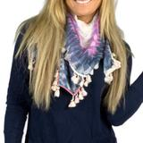 American Eagle Outfitters Accessories | American Eagle Outfitters Fringe Scarf | Color: Blue/Pink | Size: Os
