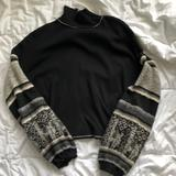 Free People Tops | Free People Sweater Sleeve Top | Color: Black/Gray | Size: S