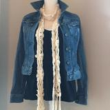 American Eagle Outfitters Accessories | American Eagle Flower Crochet Skinny Scarf | Color: Cream/White | Size: Os