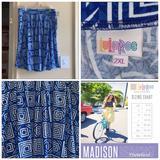 Lularoe Skirts | Lularoe Madison Sz 2xl Nwot | Color: Blue/White | Size: Xxl