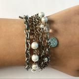 American Eagle Outfitters Jewelry | 3$15 Aeo Bracelet With Multi Strand And Pearls | Color: Silver | Size: Os