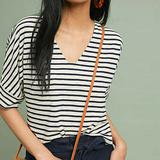 Anthropologie Tops   Anthropologie Striped Cropped Tee   Color: Blue/Cream   Size: S