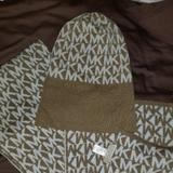 Michael Kors Accessories | Authentic Michael Kors Hat & Scarf Set Tan & White | Color: Tan | Size: Os