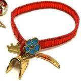 Disney Jewelry | 10 X Disney Couture Pocahontas Red Bead Bracelets | Color: Blue/Gold/Red | Size: 10pc