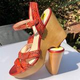 Coach Shoes   Coach Nikkie Orange Snake Platform Wedge Sandals 9   Color: Orange/Tan   Size: 9