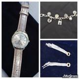 American Eagle Outfitters Jewelry | 3x Jewelry Bundle Watch Bracelet Earrings | Color: Pink/Silver | Size: Os