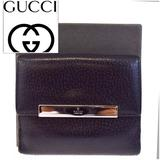 Gucci Bags | Gucci Logos Bifold Leather Wallet Black Silver | Color: Black/Silver | Size: Os