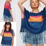 Free People Other | Free People Sundown Kimono Topper With Fringe | Color: Blue/Black | Size: Ml