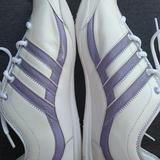 Adidas Shoes | Adidas Fit Foam Sneakers White Lavender Stripe 9.5 | Color: Purple/White | Size: 9.5