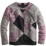 J. Crew Tops   J. Crew Collection Mixed Tweed Sweatshirt   Color: Black/Pink   Size: 14