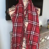 Burberry Accessories | Authentic Burberry Fringe Scarf | Color: Red | Size: Os
