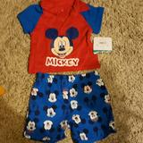 Disney Matching Sets | Mickey 2 Pc Set | Color: Blue/Red | Size: 0-3mb