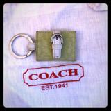 Coach Accessories | Coach Signature Green Keychain | Color: Green/White | Size: Os