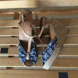 American Eagle Outfitters Shoes | American Eagle Blue Brown Cork Heel Wedges Sandals | Color: Blue/Brown | Size: 8