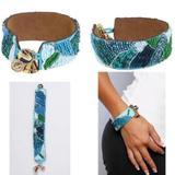 Disney Jewelry | 5 X Disney Couture Pocahontas Leather Bracelets! | Color: Blue/Green | Size: 5pc