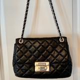 Michael Kors Bags | Michael Kors Quilted Leather Handbag | Color: Black/Silver | Size: Medium