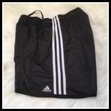 Adidas Bottoms | Adidas Mesh Athletic Shorts Black - Girl'S Medium | Color: Black/White | Size: Mg