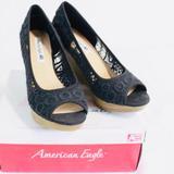 American Eagle Outfitters Shoes   American Eagle Black Krochet Platform Wedge-Sz 8   Color: Black   Size: 8