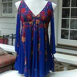 Free People Dresses | Free People Babydoll Floral Dress | Color: Blue | Size: Xs