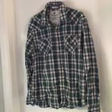 American Eagle Outfitters Shirts   American Eagle Mens Large Cowboy Snap Shirt   Color: Blue/Green   Size: L