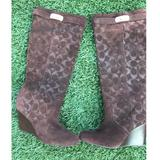 Coach Shoes | Coach Wedge Knee High, Brown Boots | Color: Brown | Size: 6