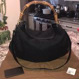 Gucci Bags | Authentic Gucci Bamboo Handle Black Tote | Color: Black/Gold | Size: Os