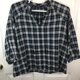 Madewell Tops | Madewell Plaid Oversized Shirt Tassels Blue White | Color: Blue/White | Size: L