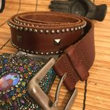 American Eagle Outfitters Accessories | American Eagle Leather Studded Belt Silver Buckle | Color: Brown | Size: 36