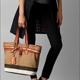 Burberry Bags | Burberry Canvas Check & Leather Tan Handbag | Color: Black/Tan | Size: Os