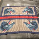 Gucci Accessories | Gucci Web Silk Scarf | Color: Blue/Tan | Size: Os