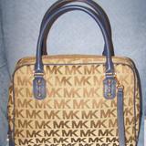 Michael Kors Bags | $398 Michael Kors Lg Monogram Satchel Nwt Handbag | Color: Blue/Tan | Size: Os
