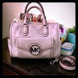 Michael Kors Bags | Host Pick! Michael Kors Leather Crossbody Purse | Color: Gray/Silver | Size: Os