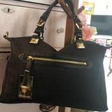 Michael Kors Bags | Michael Kors Black Canvas Bag W Leather Handles | Color: Black/Gold | Size: 10 12 Inches Deep, 16 Inches Wide