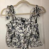 American Eagle Outfitters Tops   American Eagle Tie Straps Loose Crop Top Petite   Color: Blue/White   Size: Xsp