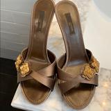 Louis Vuitton Shoes | Louis Vuitton Athen Open Toe Mule | Color: Brown/Tan | Size: 7.5