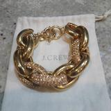 J. Crew Jewelry | *Euc* Lg Linkpave Heavy Bracelet! | Color: Gold | Size: Os