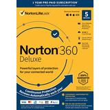 Norton 360 Deluxe 2021 – Antivirus Software for 5 Devices with Auto Renewal - Includes VPN, PC Cloud Backup & Dark Web Monitoring Powered by LifeLock [Key Card]