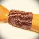 """3"""" Wide Copper Color Handcrafted Boho Seed Bead Cuff Statement Bracelet"""