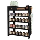 "Jerry & Maggie -Wood MDF Board Shoe Rack Shelf with One Drawer Clothes Rack Shoe Storage Shelves Free Standing Flat Racks Classic Style - Multi Function Shelf Organizer (Black, 30"" x 12"" x 32)"