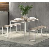 """Rhomtree 3 Pieces Dining Set Table with 2 Benches Kitchen Dining Room Furniture 47.6""""L x 29.9""""W Modern Style Wood Table Top with Metal Frame (Oak)"""