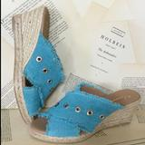 Anthropologie Shoes | Anthropologie Fabric Mule Slide Wedge Sandal | Color: Blue/Green | Size: Various