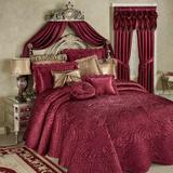 "Portia II Grande Bedspread Ruby, California King 24"" Drop, Ruby"