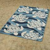 "Swimming Sea Turtles Rectangle Rug Blue, 2'5"" x 3'9"", Blue"