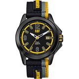 CAT Twist Up Black Men Watch, 42.5 mm case, Black face, Date Display, Stainless Steel case, Black Grey Yellow Nylon Strap, Black/Yellow dial (YU.161.61.137) (Black)