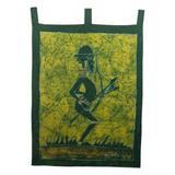 World Menagerie Mystic Mamfe Hunter in Moss Batik Wall Hanging Cotton in Black/Green, Size 34.5 H x 24.0 W in | Wayfair