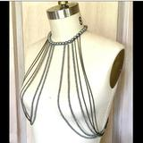 Free People Jewelry   Lena Bernard Necklace Vest Harness Pearl Chain   Color: Silver   Size: Os This Item Adjustable Chain