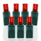 Wide Angle Conical Battery Operated LED D Cell 50 Lights - Red